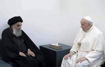 السيستاني يخبر البابا بأنه يشعر بخيبة أمل من السياسيين العراقيين ولا يستقبلهم